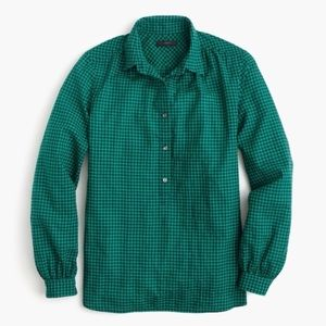 J. Crew Gathered Popover Shirt in Gingham Size 2